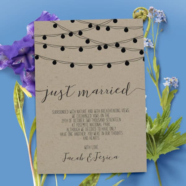 Rustic Elopement Announcement Card, Elopement Card, Just Married Card, Eloped Card, Elopement Card elopement38