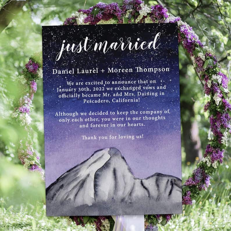 Just Married Watercolor Galaxy Elopement Announcement Cards, Wedding Elopement Card, Announcement Cards elopement392