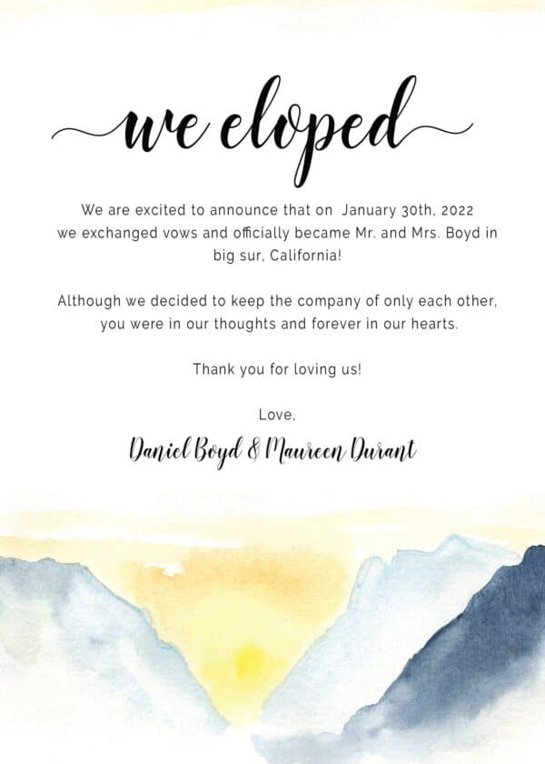 We Eloped , Elopement Announcement Cards, Mountain and dawn painted in water color Elopement , Wedding Elopement Card, elopement405