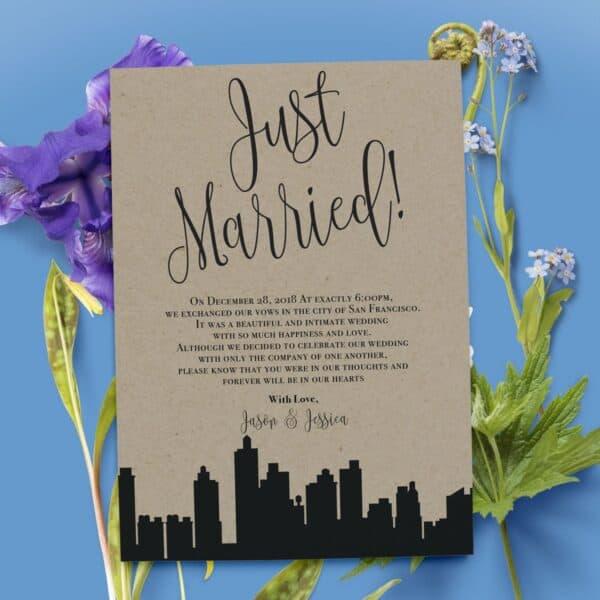 Rustic Elopement Announcement Card, Wedding Announcements Elopement Card, Just Married Card, Eloped Card, Elopement Card elopement41