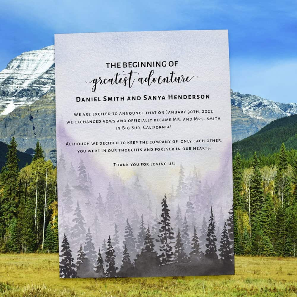 Elopement Announcement Card, Mountain Forest Wedding Destination Card, The Beginning of our greatest adventure #413