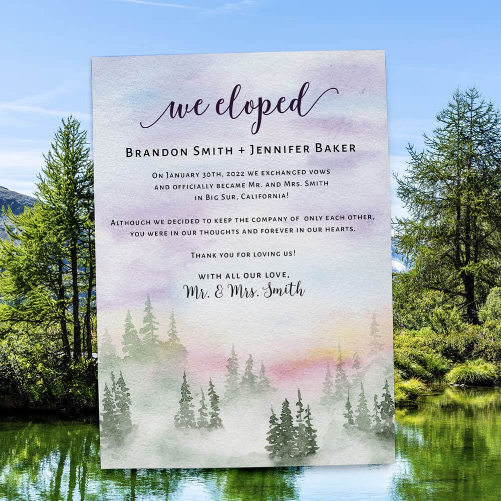 Dreamy We Eloped Wedding Elopement Announcement Card, Mountain and Misty Forest Wedding #414