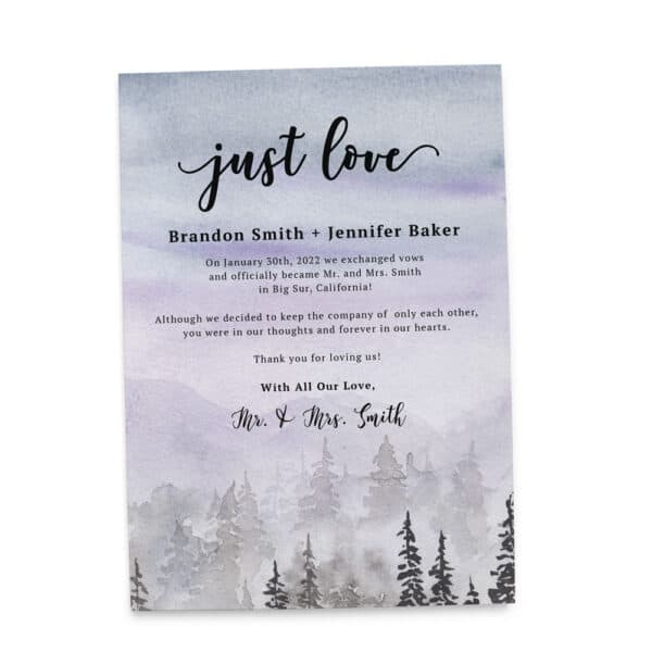 Dreamy Just Love Wedding Elopement Announcement Card, Misty Forest Destination Wedding elopement419