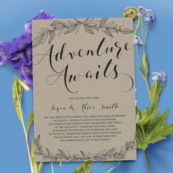 Rustic Wedding Announcements, Elopement Announcement Card, Elopement Card, Just Married Card, Eloped Card, Elopement Card #42 elopement42