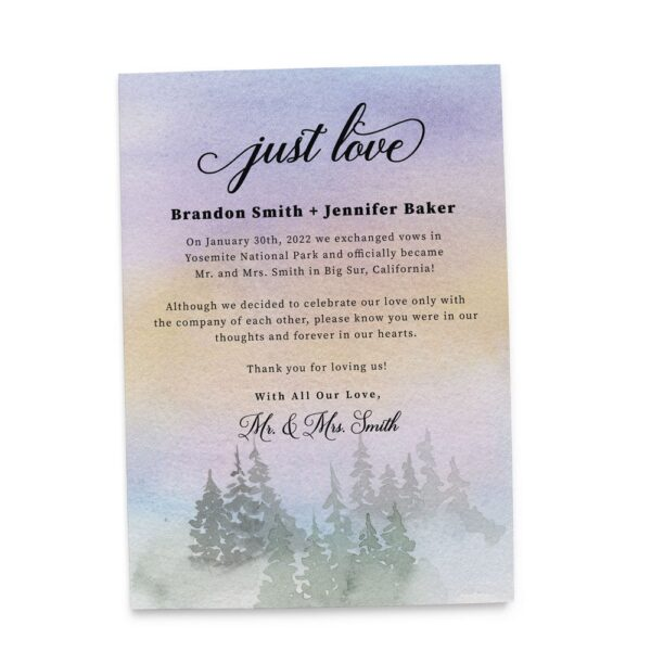 Moody Just Love Wedding Elopement Announcement Card, Misty Forest Destination Wedding elopement422