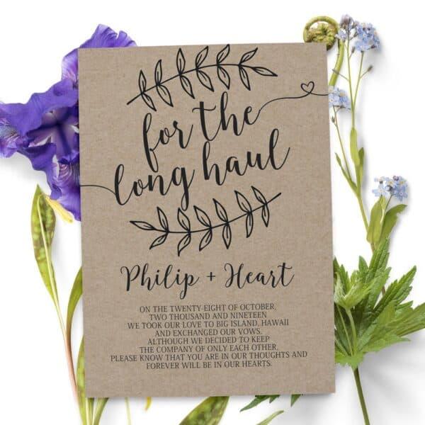 Elopement Announcement Cards, Wedding Announcement Cards, Printed and Printable Elopement Announcement Cards elopement51