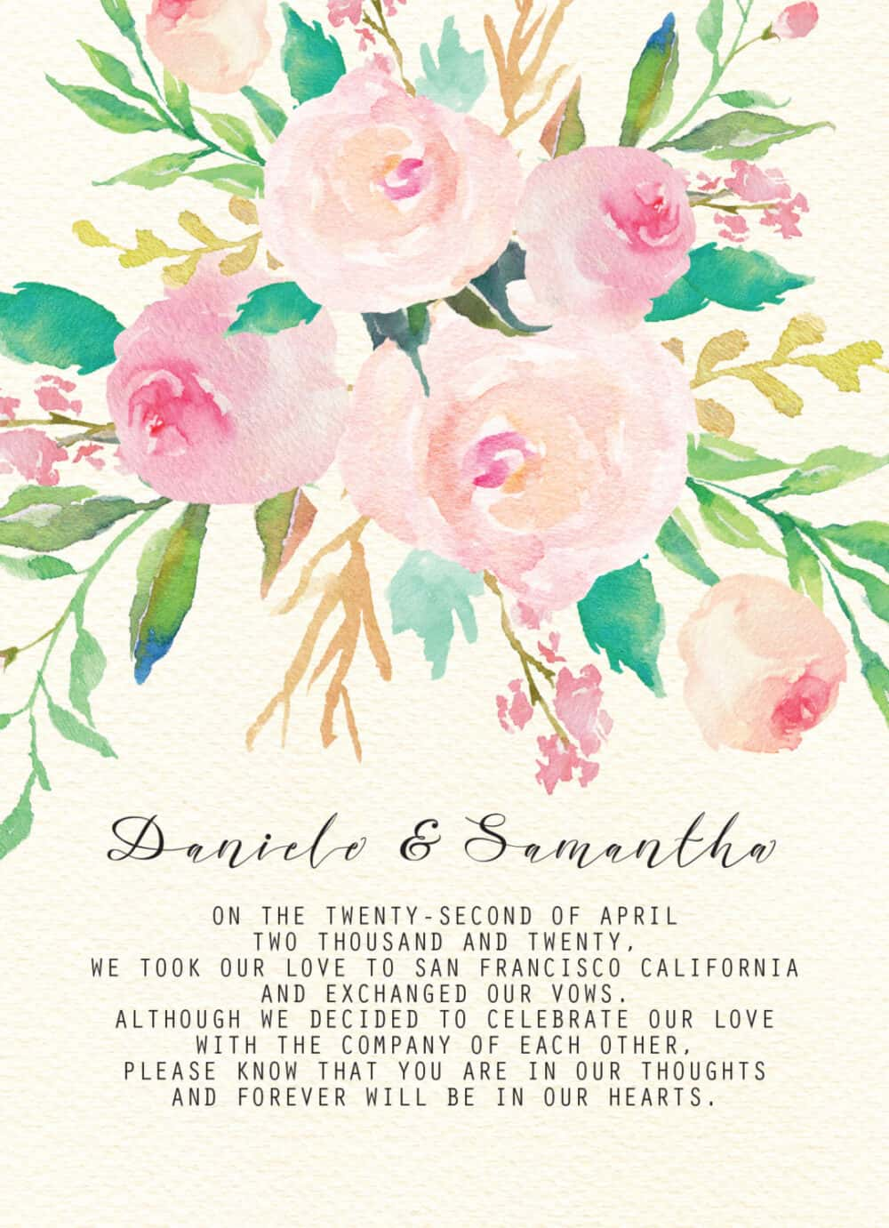 Elegant Floral Elopement Announcement Cards, Personalized Eloped Cards elopement52