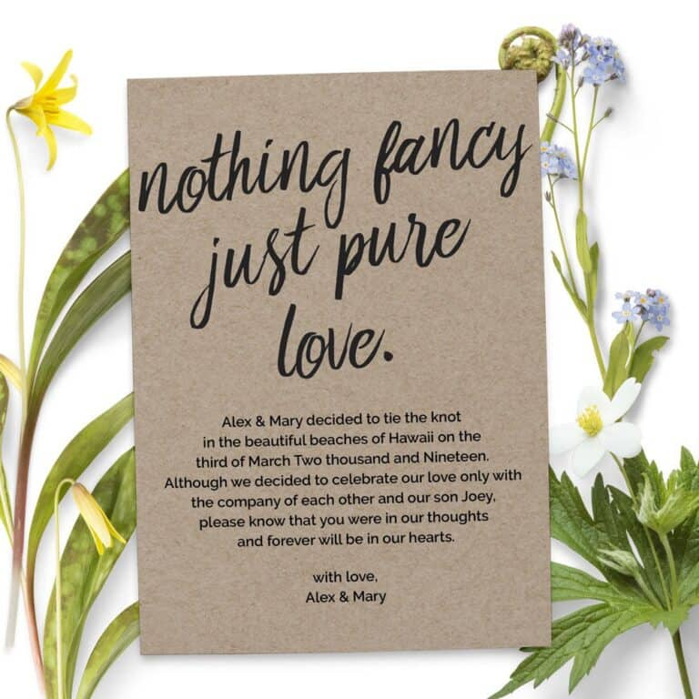 Nothing Fancy Just Pure Love Elopement Announcement Cards,Wedding Announcement Cards, Printed and Printable Elopement Announcement Cards elopement78