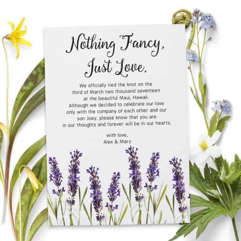 Nothing Fancy Just Love, Wedding Announcement Cards, Printed and Printable Elopement Announcement Cards elopement80