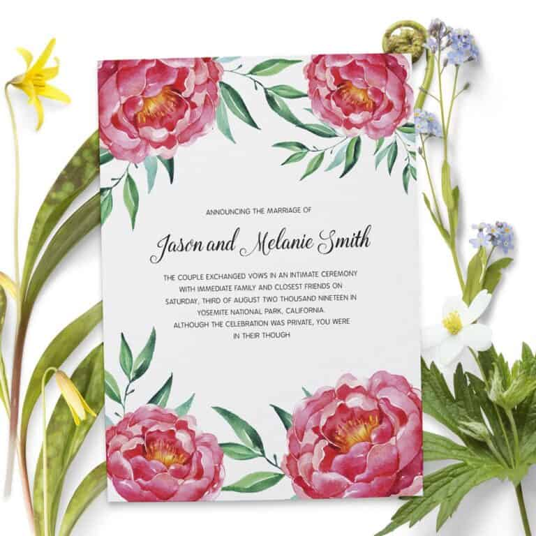 Elopement Announcement Cards, Wedding Announcement Cards, Printed and Printable Elopement Announcement Cards elopement81