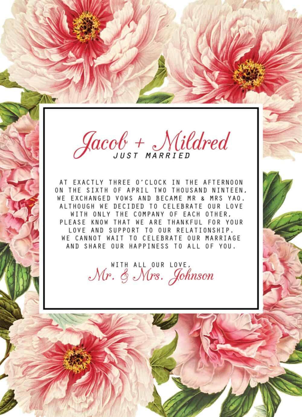 Vintage Floral Elopement Announcement Cards, Just Married Elopement Cards elopement86