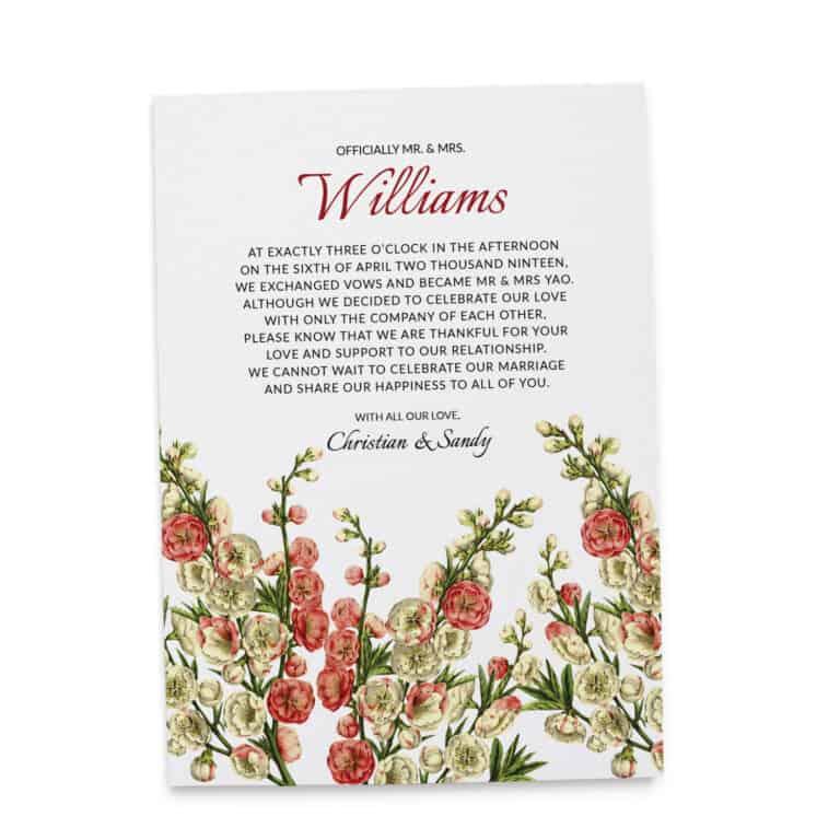 Elopement Announcement Cards, Wedding Announcement Cards, Printed and Printable Elopement Announcement Cards elopement87