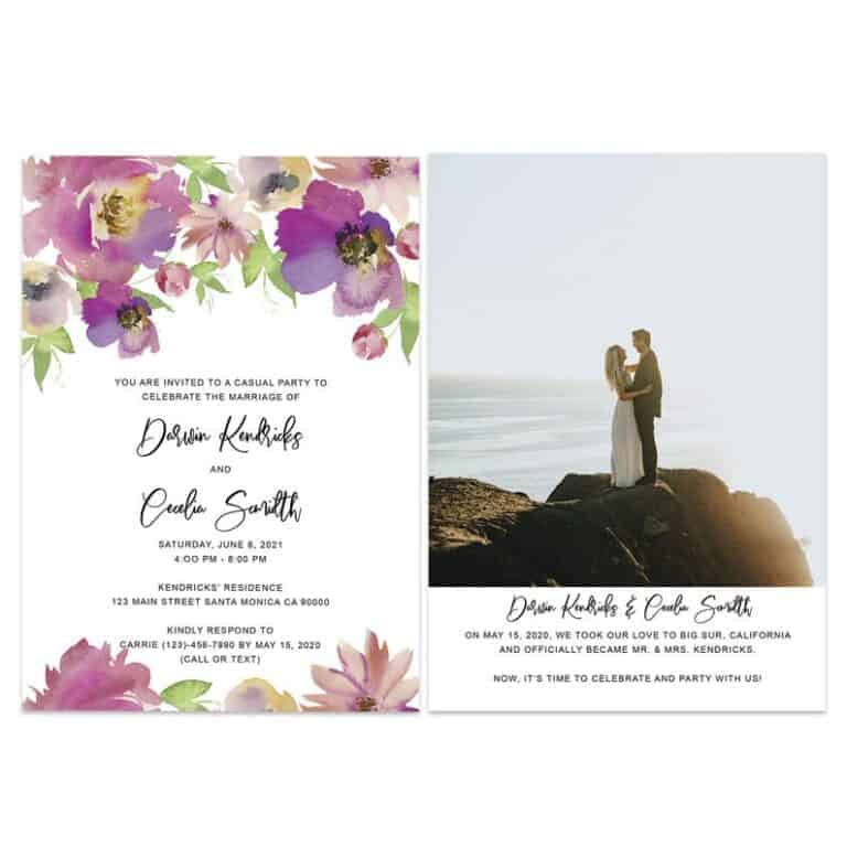 Floral Wedding Elopement Announcement And Party Reception Invitation Cards, Just Married Announcement Cards#428