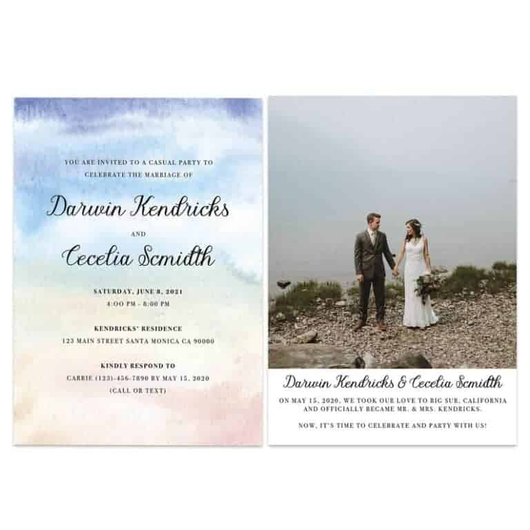 Boho Wedding Elopement Announcement And Party Reception Invitation Cards elopement430