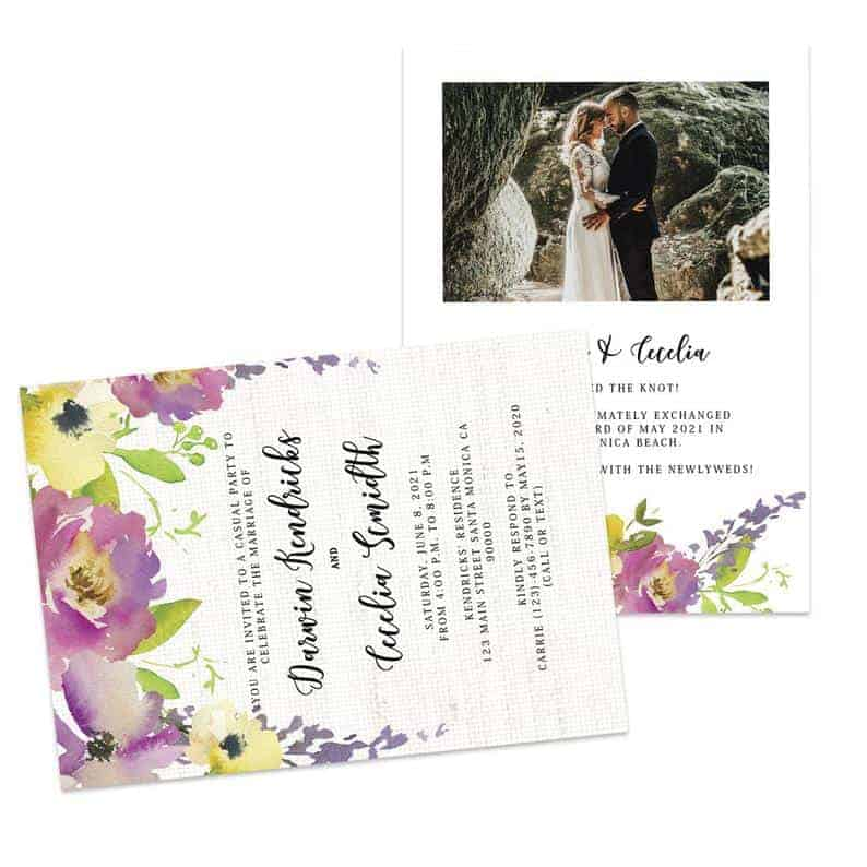 Floral Wedding Elopement Announcement And Party Reception Invitation Cards, Tied the knot Announcement and Reception Card #433