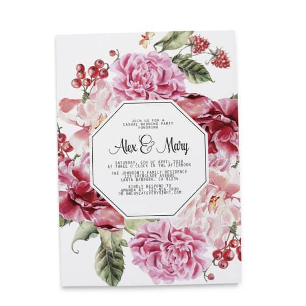 Beautiful and Elegant Wedding Reception Invitation Cards, Pink Florals Casual Wedding BBQ Party Cards elopement89-2