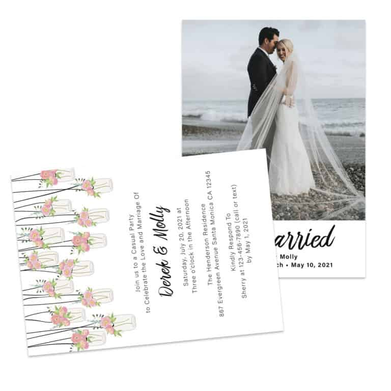 Rustic Just Married Elopement and Reception Cards Elopement426