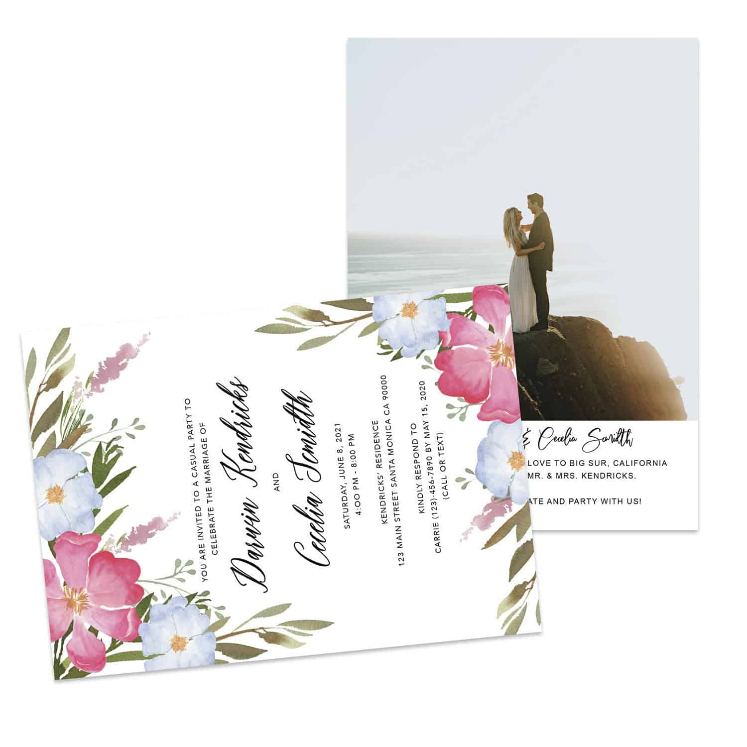 Floral Wedding Elopement Announcement And Party Reception Invitation Cards, Just Married Announcement Cards #429