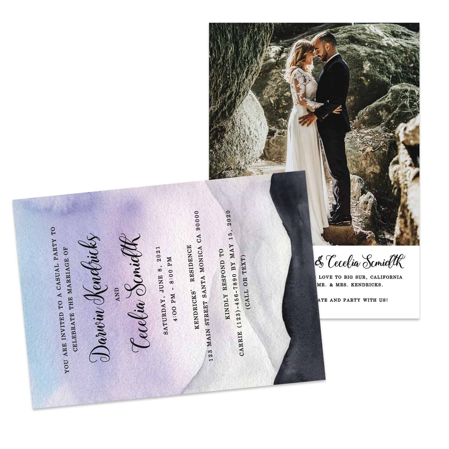 Boho Wedding Elopement Announcement And Party Reception Invitation Cards Elopement431