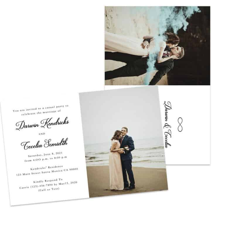 Tied The Knot Wedding Elopement Announcement And Party Reception Invitation Cards #432