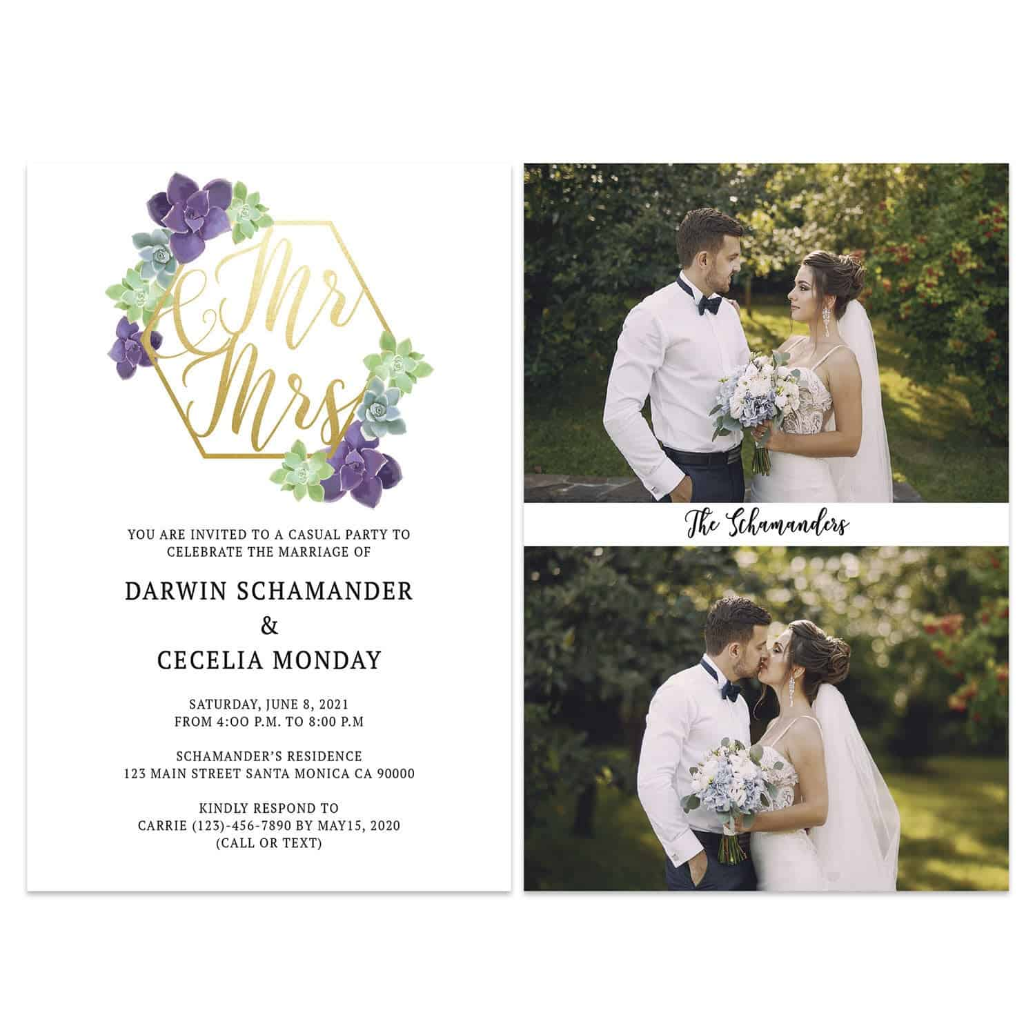 Floral Wedding Elopement Announcement And Party Reception Invitation Cards #436