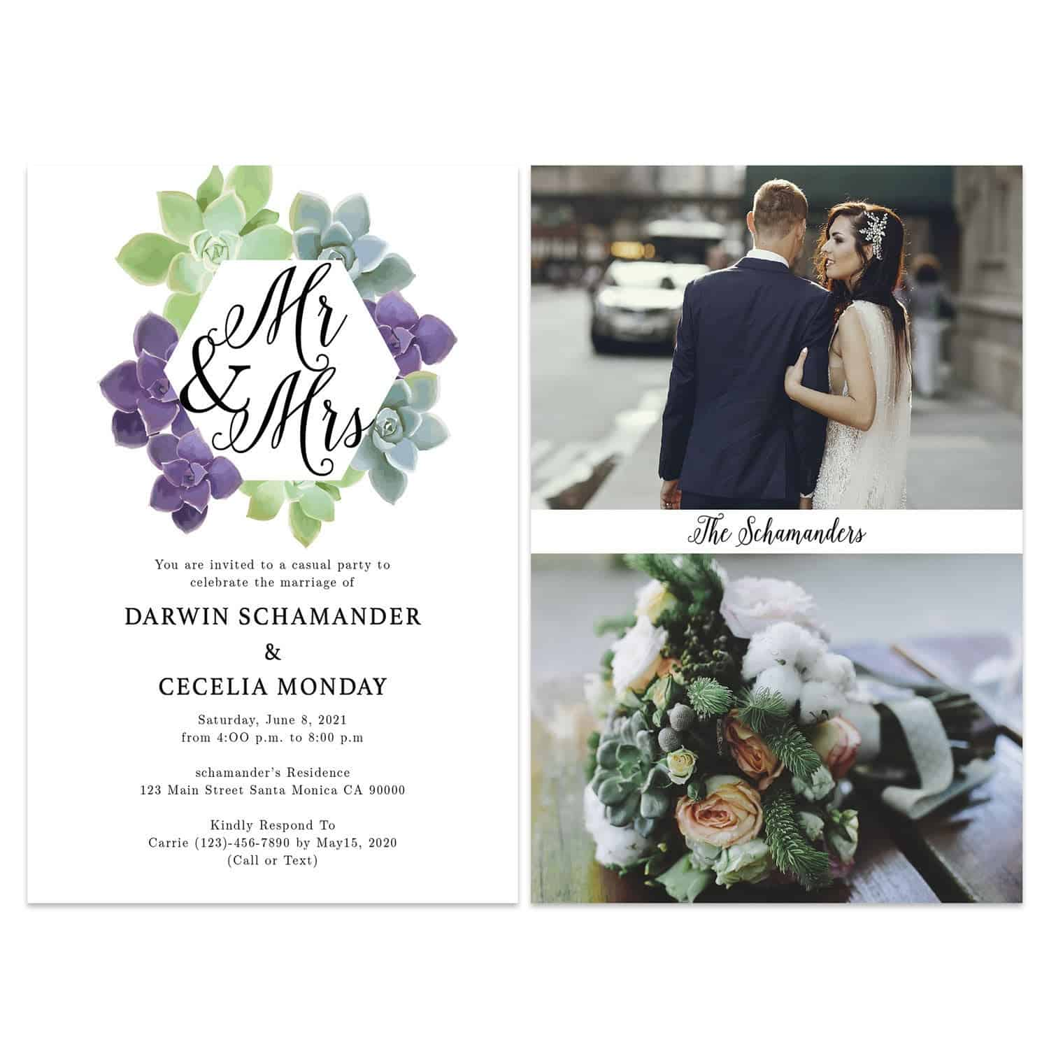 Rustic Succulent Wedding Elopement Announcement And Party Reception Invitation Cards #438