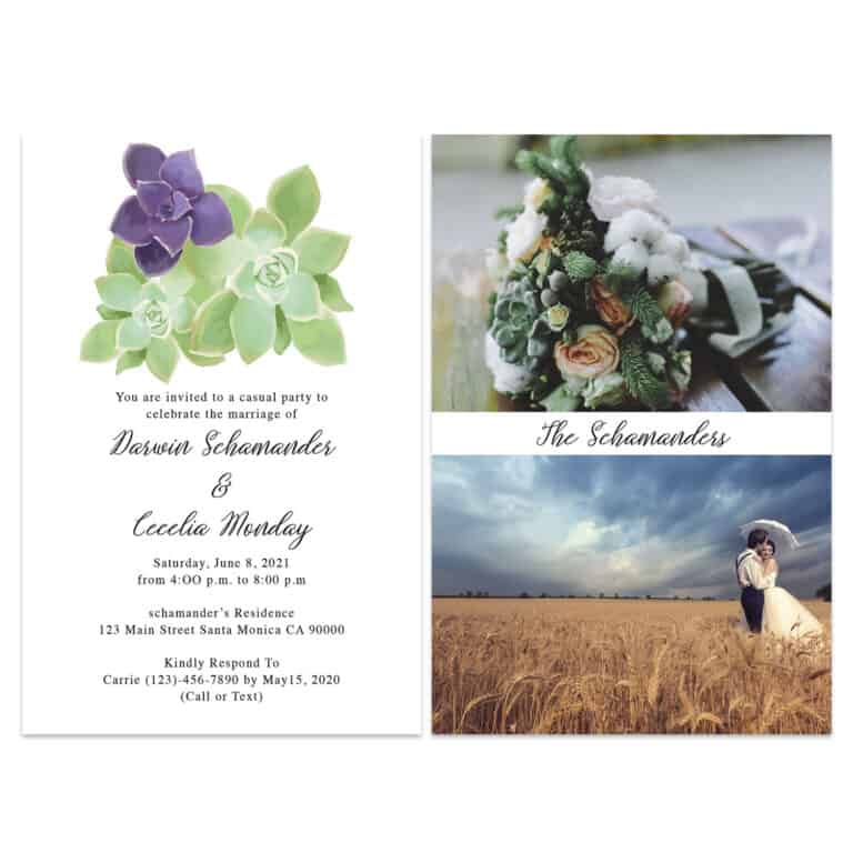 Succulent Wedding Elopement Announcement And Party Reception Invitation Cards #439