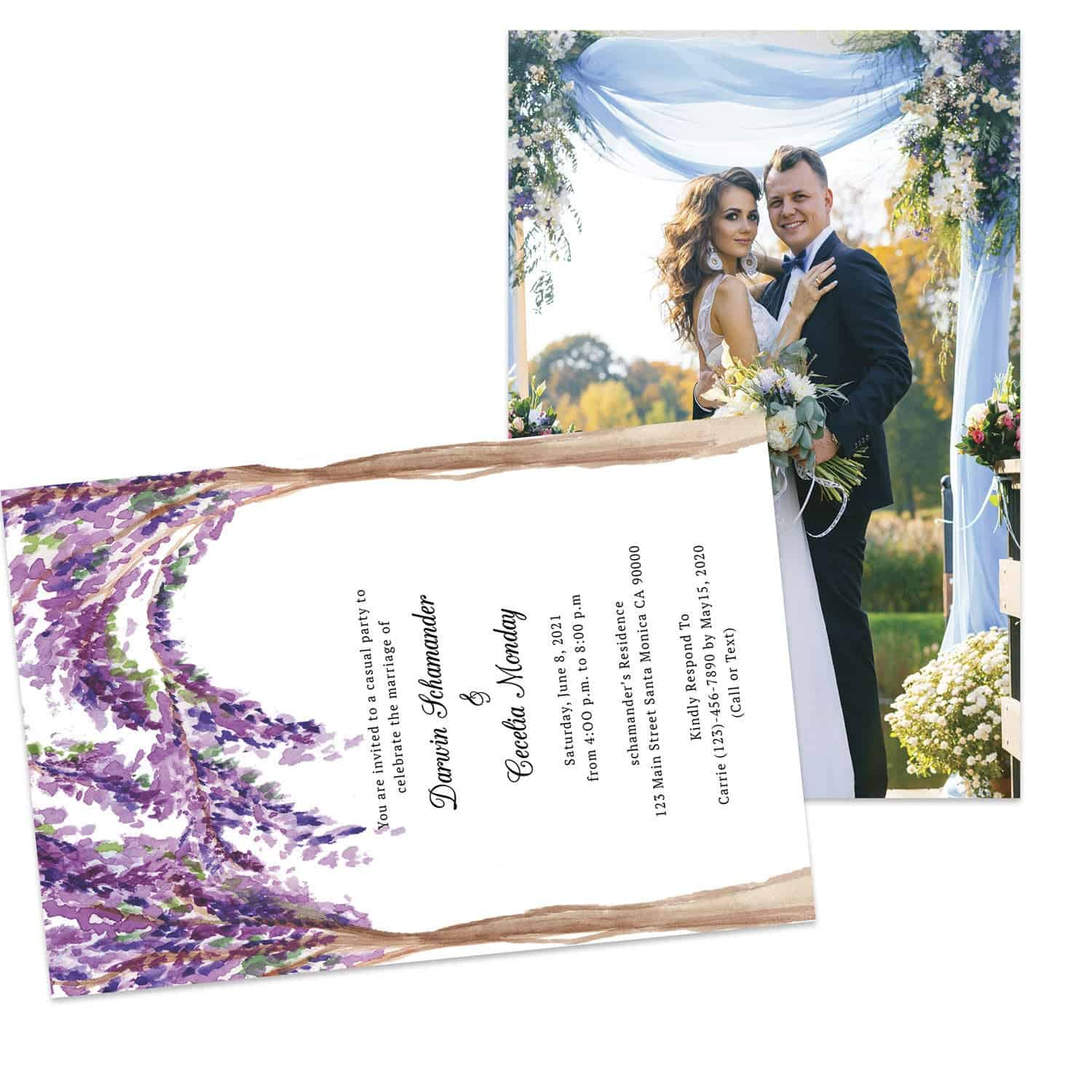 Bougainvillea Rustic Wedding Elopement Announcement And Party Reception Invitation Cards #440