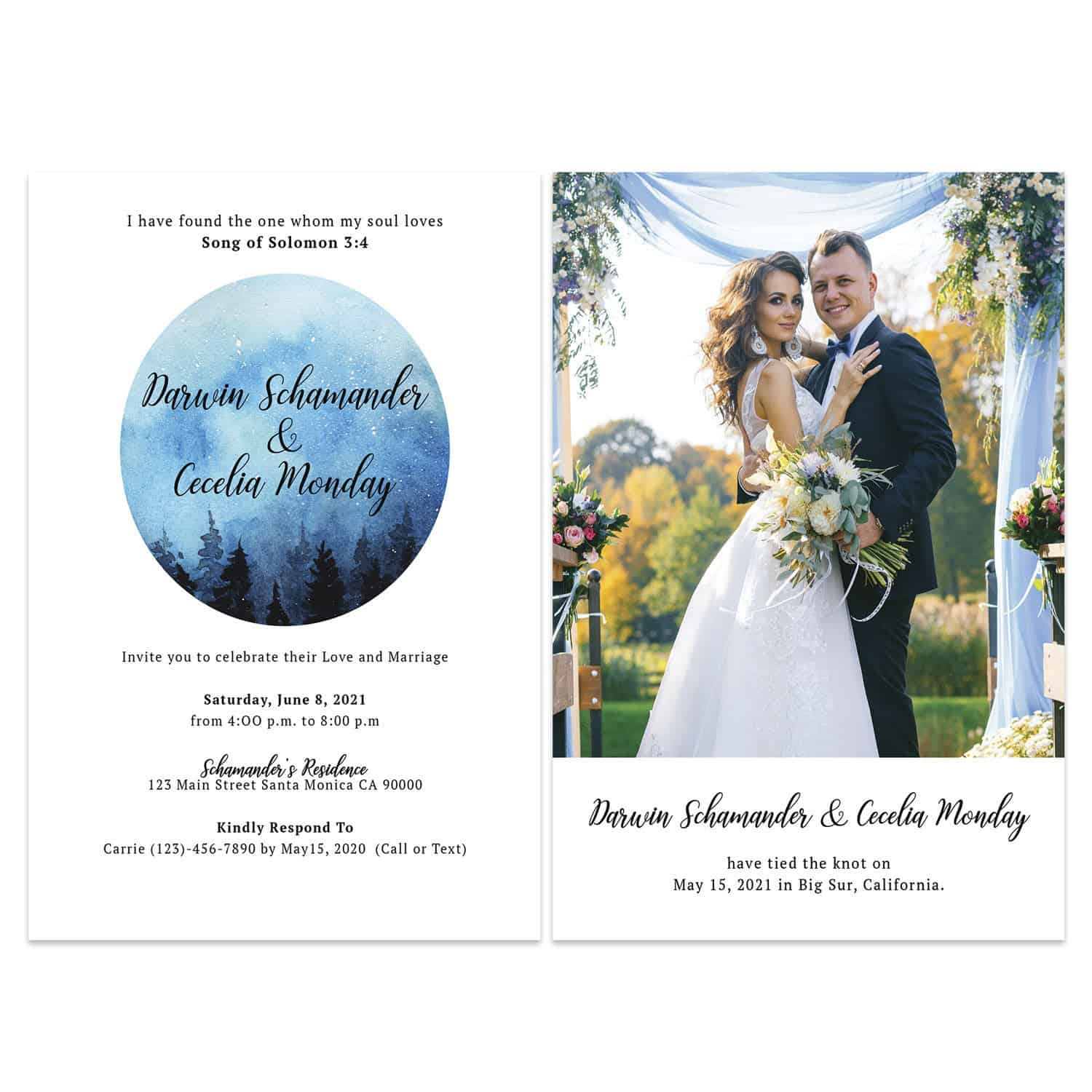 Water Color Reception Card,Elopement Reception Invitation Cards, Wedding Reception Invitations, I have found the one whom my soul loves#443