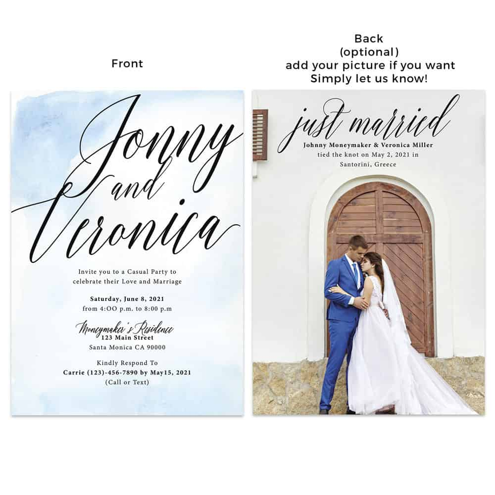 Minimalist Beach Wedding Reception Announcement Invitation Card, Blue Watercolor and Add your own picture #447