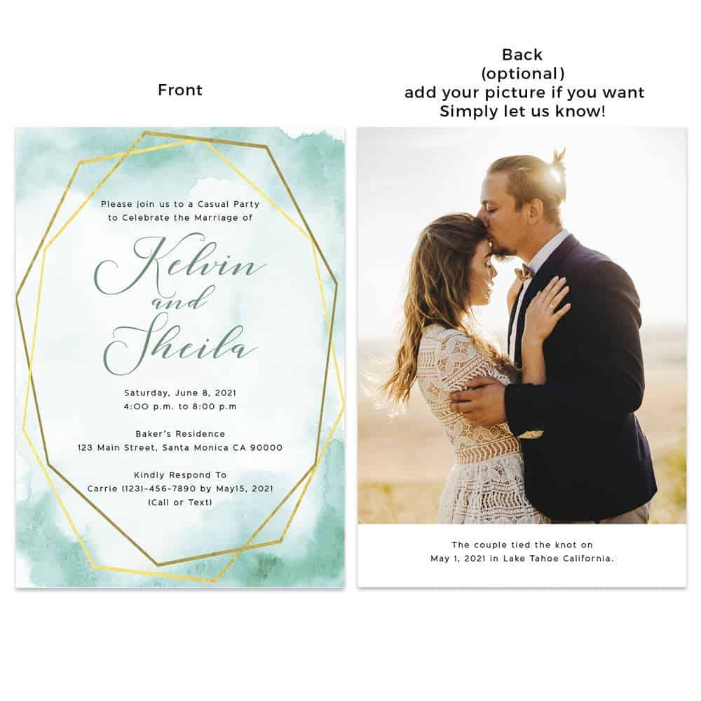 Elegant Wedding Reception Announcement Invitation Card, Emerald Green Geometric Elopement Announcement Cards, Add your own picture #449