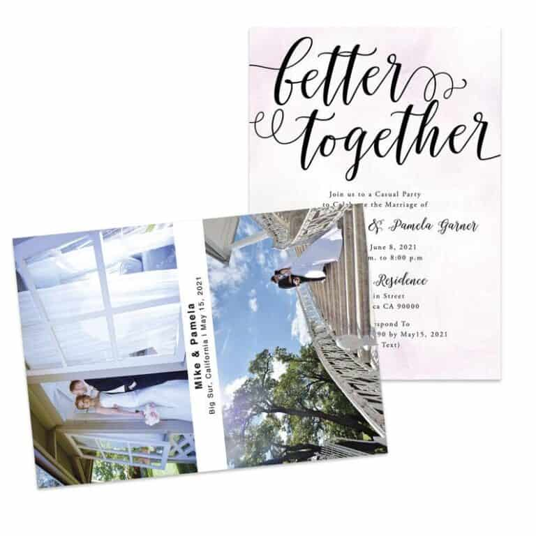 Better Together Wedding Reception Announcement Invitation Card, Pink Watercolor Elopement Announcement Cards, Add your own picture #454