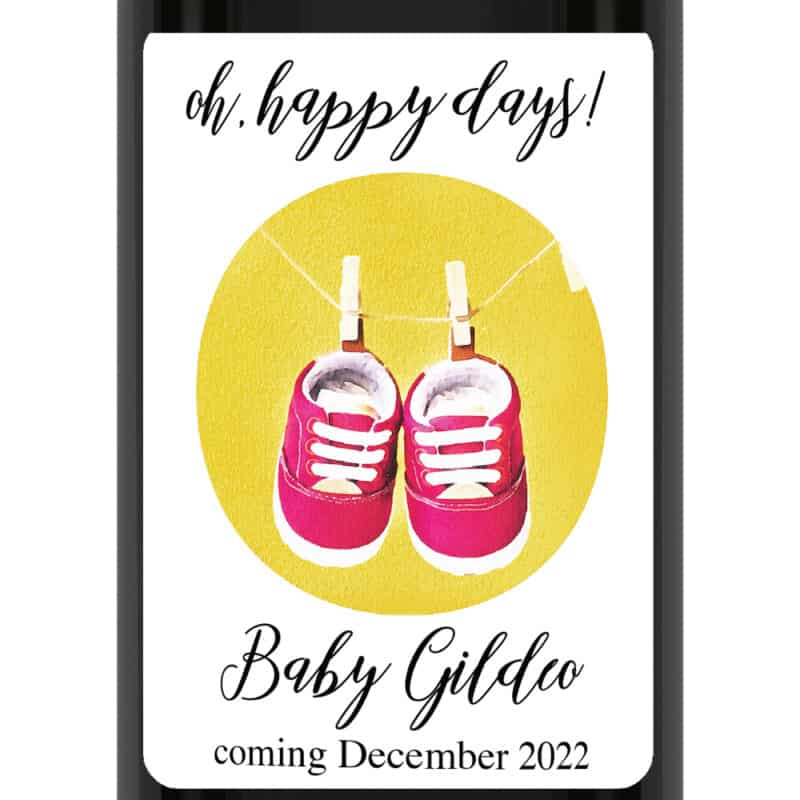 Oh happy days pregnancy announcement wine labels cute shoes bwinelabel191