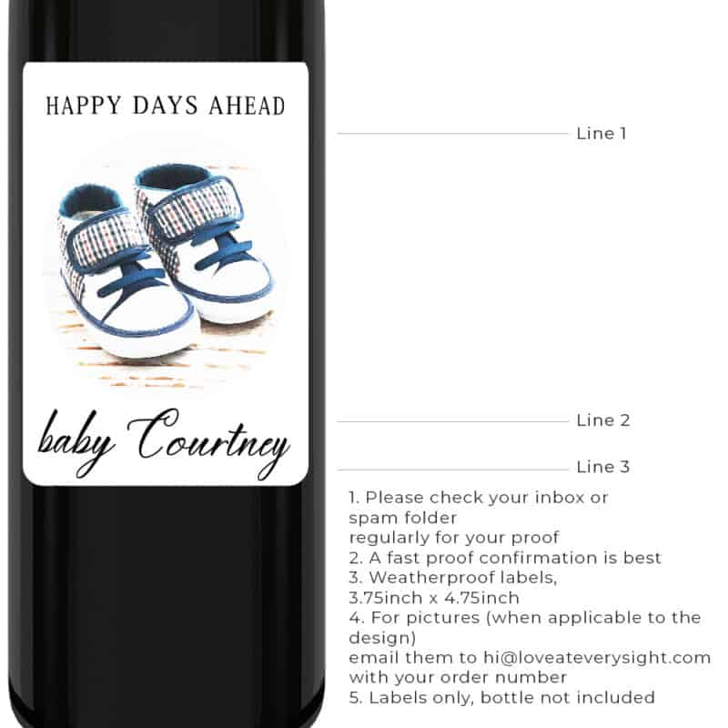 Happy days ahead pregnancy baby announcement wine labels bwinelabel193