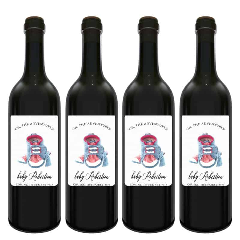 Cute baby shoes pregnancy announcement wine labels bwinelabel196