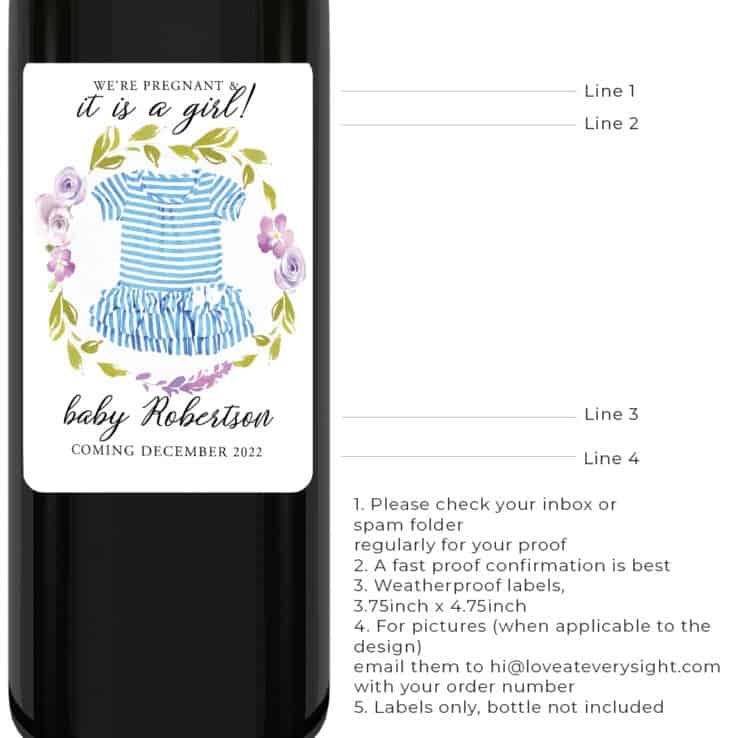Gender reveal pregnancy announcement wine label, it is a girl bwinelabel197