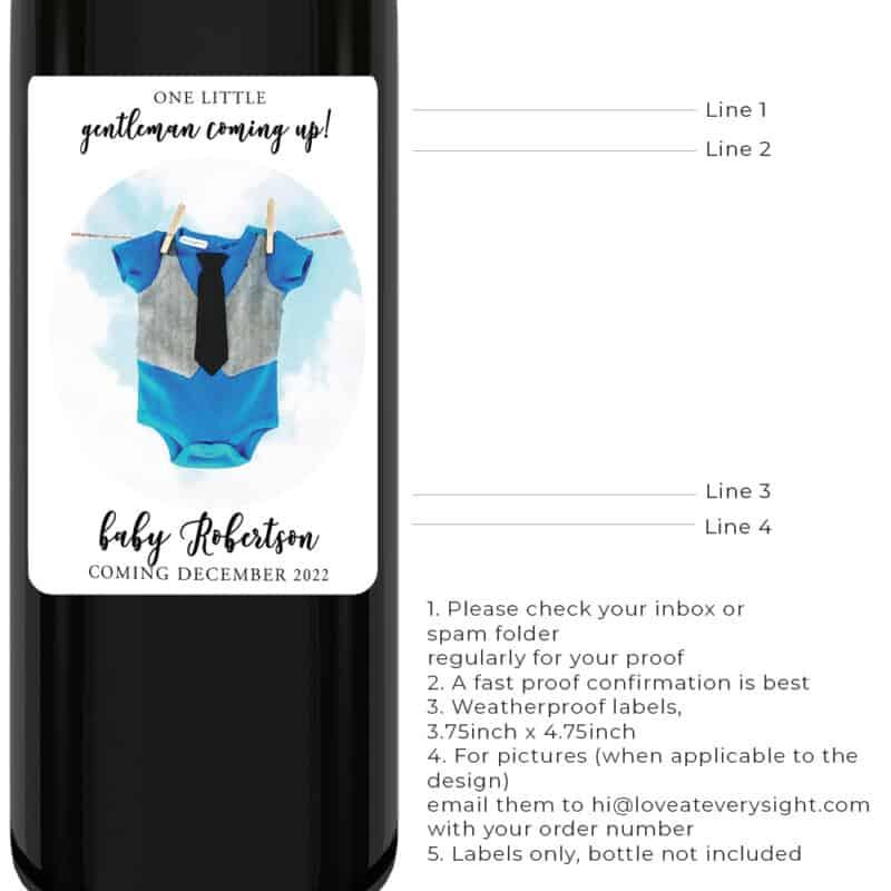 Gentleman gender reveal announcement wine labels bwinelabel198