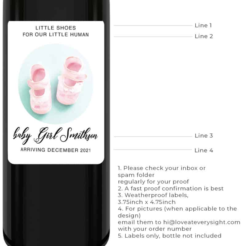 Gender reveal pink shoes pregnancy announcement wine labels bwinelabel200
