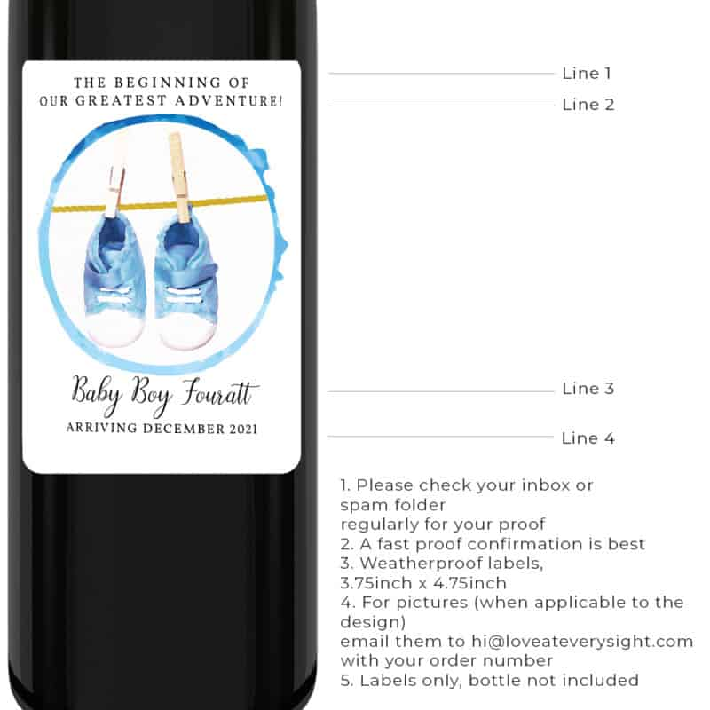 Blue shoes personalized baby pregnancy gender reveal wine labels bwinelabel203