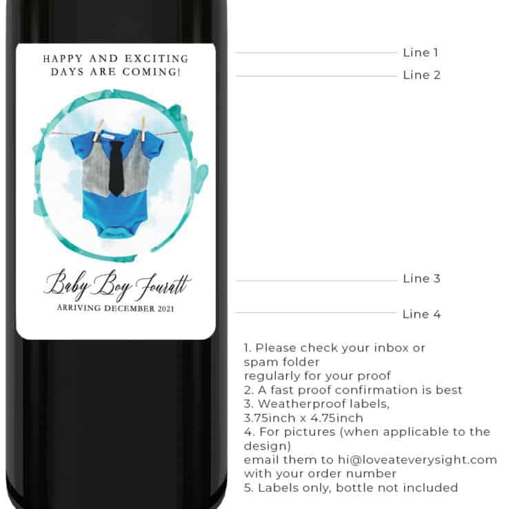 Baby boy gender reveal pregnancy announcement wine labels  bwinelabel204
