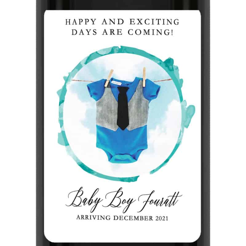 Baby boy gender reveal pregnancy announcement wine labels  bwinelabel204