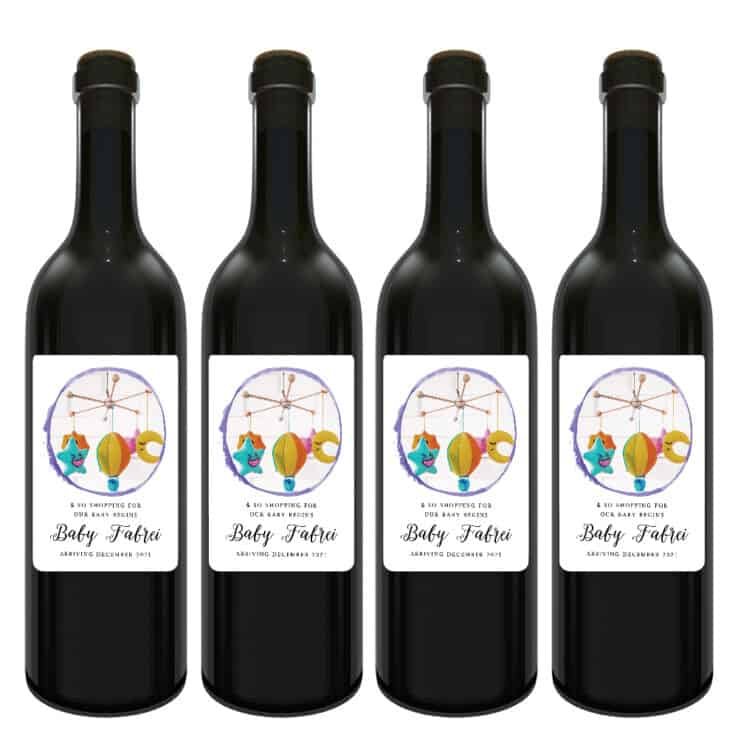 Baby toy mobile custom pregnancy announcement wine labels bwinelabel207