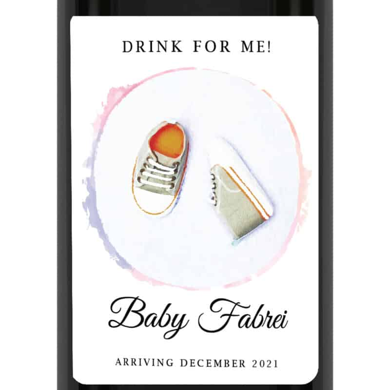 Baby shoes custom pregnancy announcement wine labels bwinelabel208