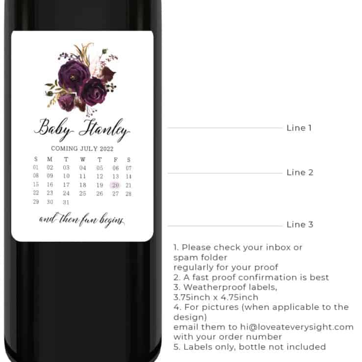 Pregnancy announcement wine label calendar and floral design bwinelabel210