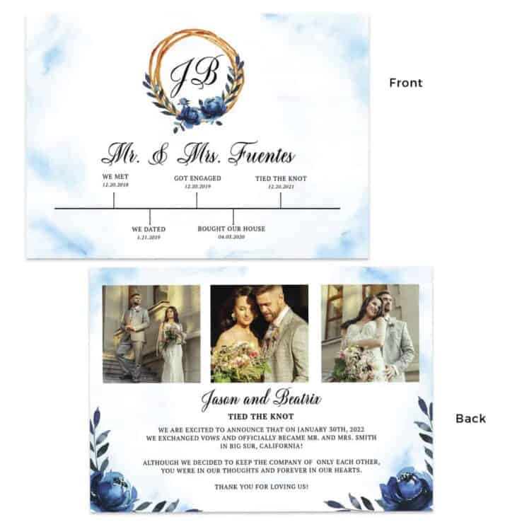 Tied the knot wedding elopement marriage announcement cards #466