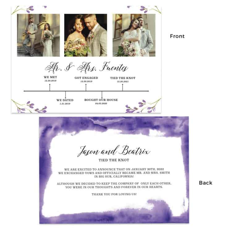 Purple wedding elopement announcement cards with relationship timeline, Custom #467