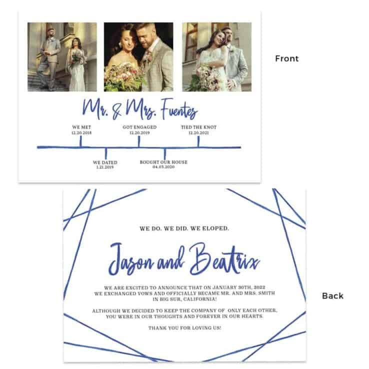 Simple blue wedding elopement announcement cards, geometric with relationship timeline #468