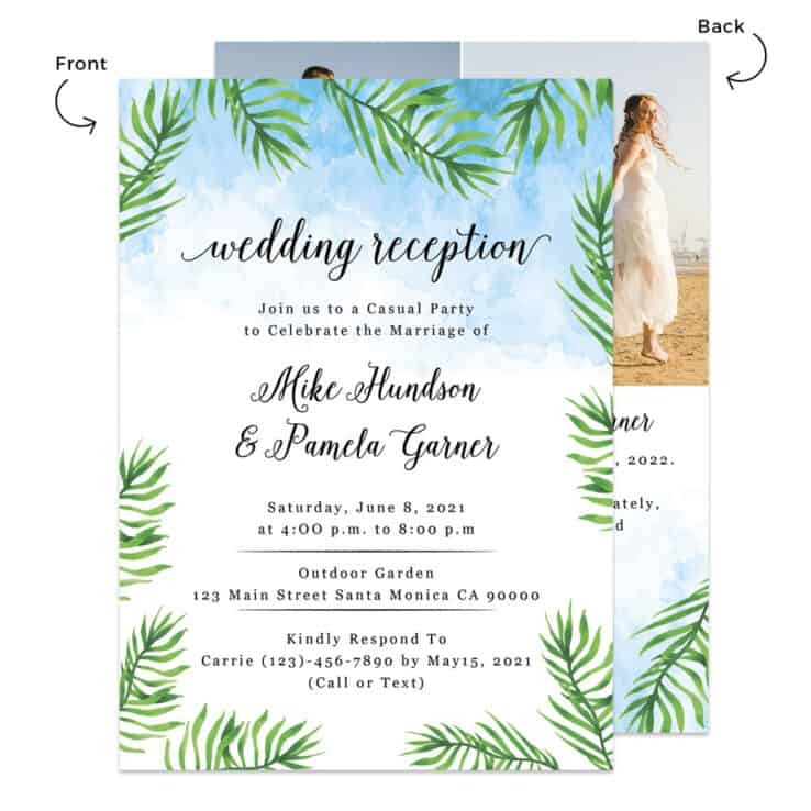 Summer beach wedding reception cards #490