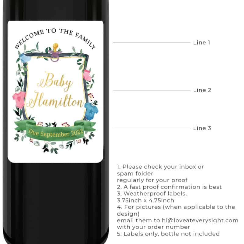 "Minimalist ""drink and celebrate for"" pregnancy announcement wine labels with baby logo/crest bwinelabel219"