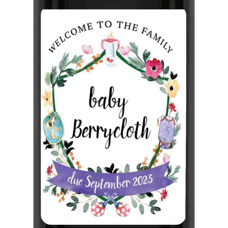 Modern Custom Pregnancy Announcement Wine Labels Welcome to the Family bwinelabel216